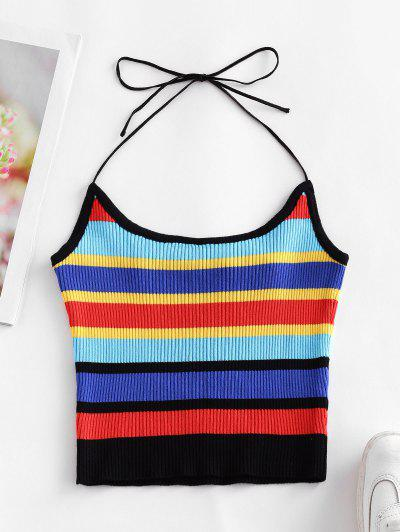 ZAFUL Halter Knitted Colorful Stripes Crop Top - Multi-a L