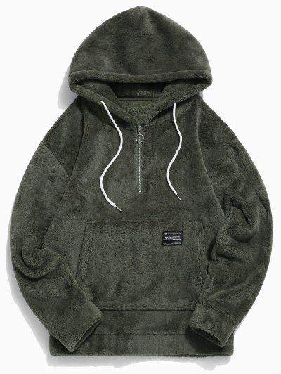 Applique Solid Color Faux Fur Half Zipper Drawstring Hoodie - Army Green M