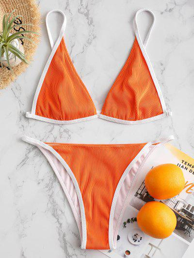 Textured Ribbed Contrast Piping Bikini Swimsuit