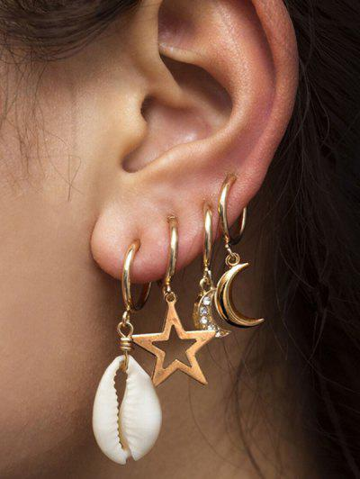 4Pcs Shell Stars Moon Drop Earrings Set - Gold