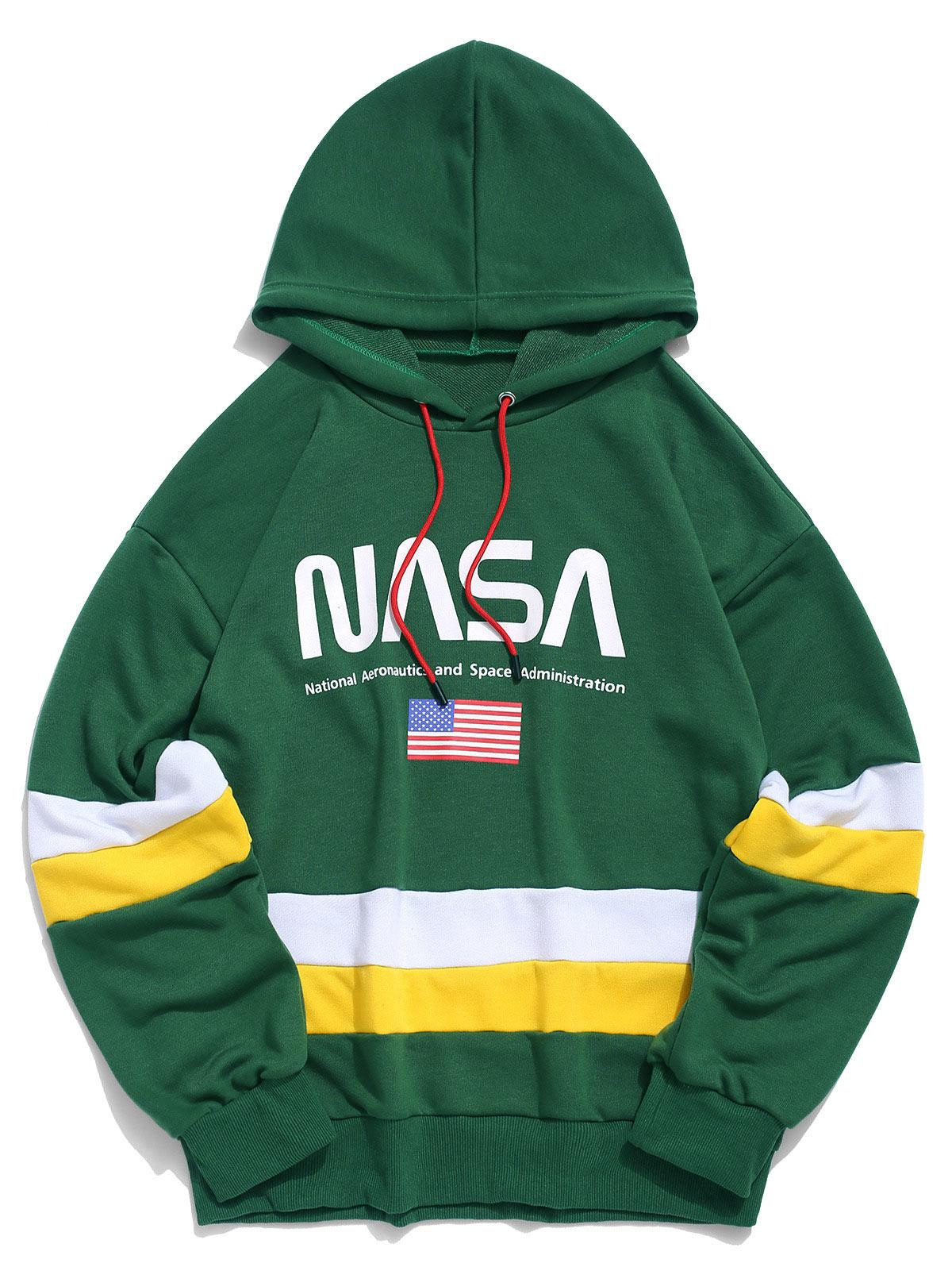 ZAFUL American Flag Color Blocking Letter Print Hoodie фото