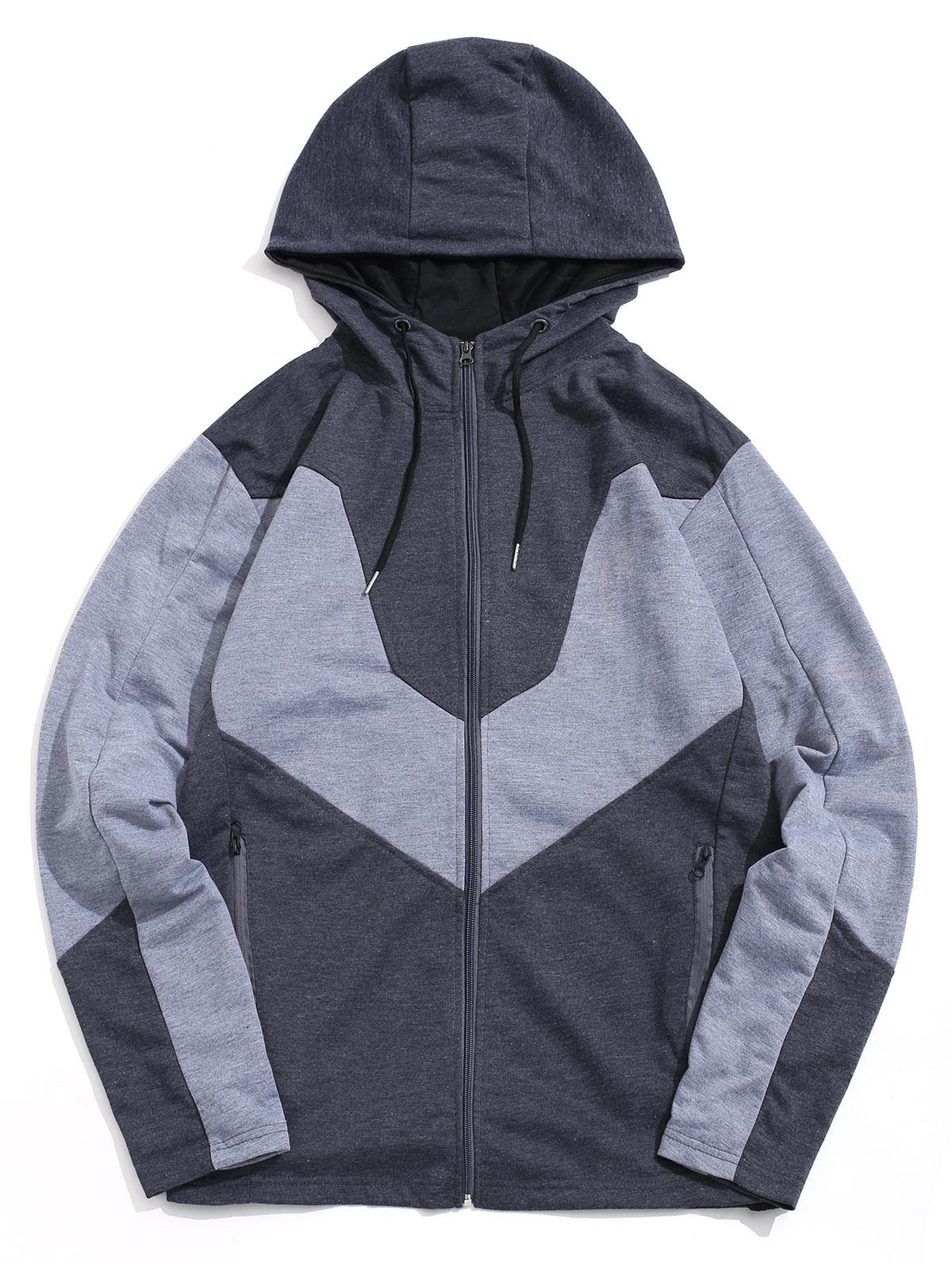 Color Spliced Zip Up Casual Hoodie thumbnail