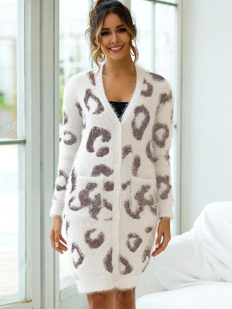 Fuzzy Leopard Button Front Pocket Long Cardigan