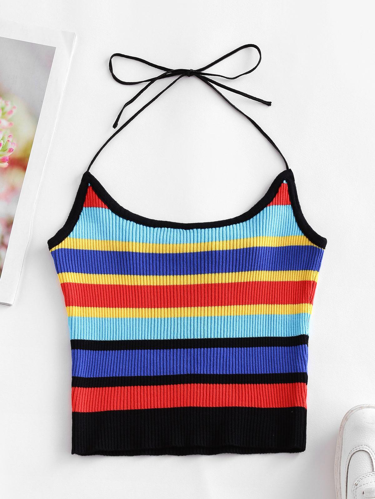 ZAFUL Halter Knitted Colorful Stripes Crop Top