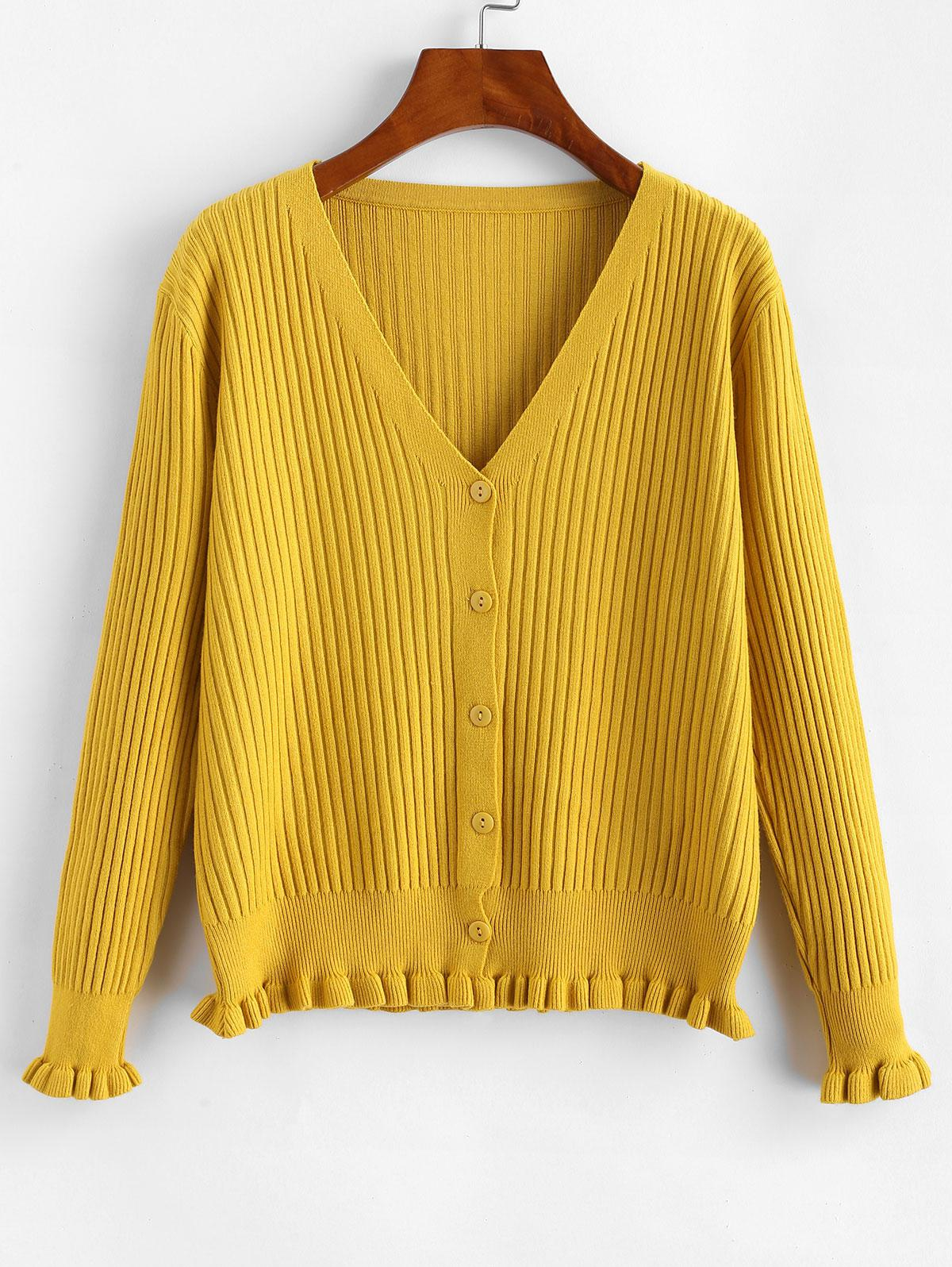Frilled Hem Ribbed Button Front Cardigan