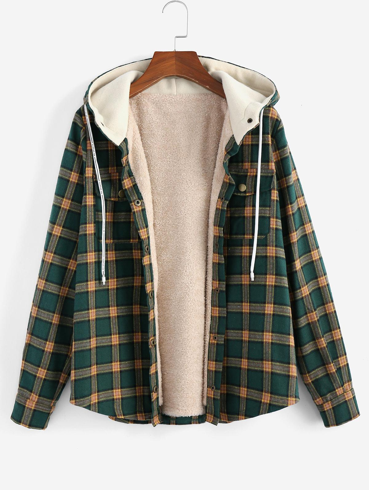 ZAFUL Plaid Hooded Fluffy Lined Snap Button Jacket