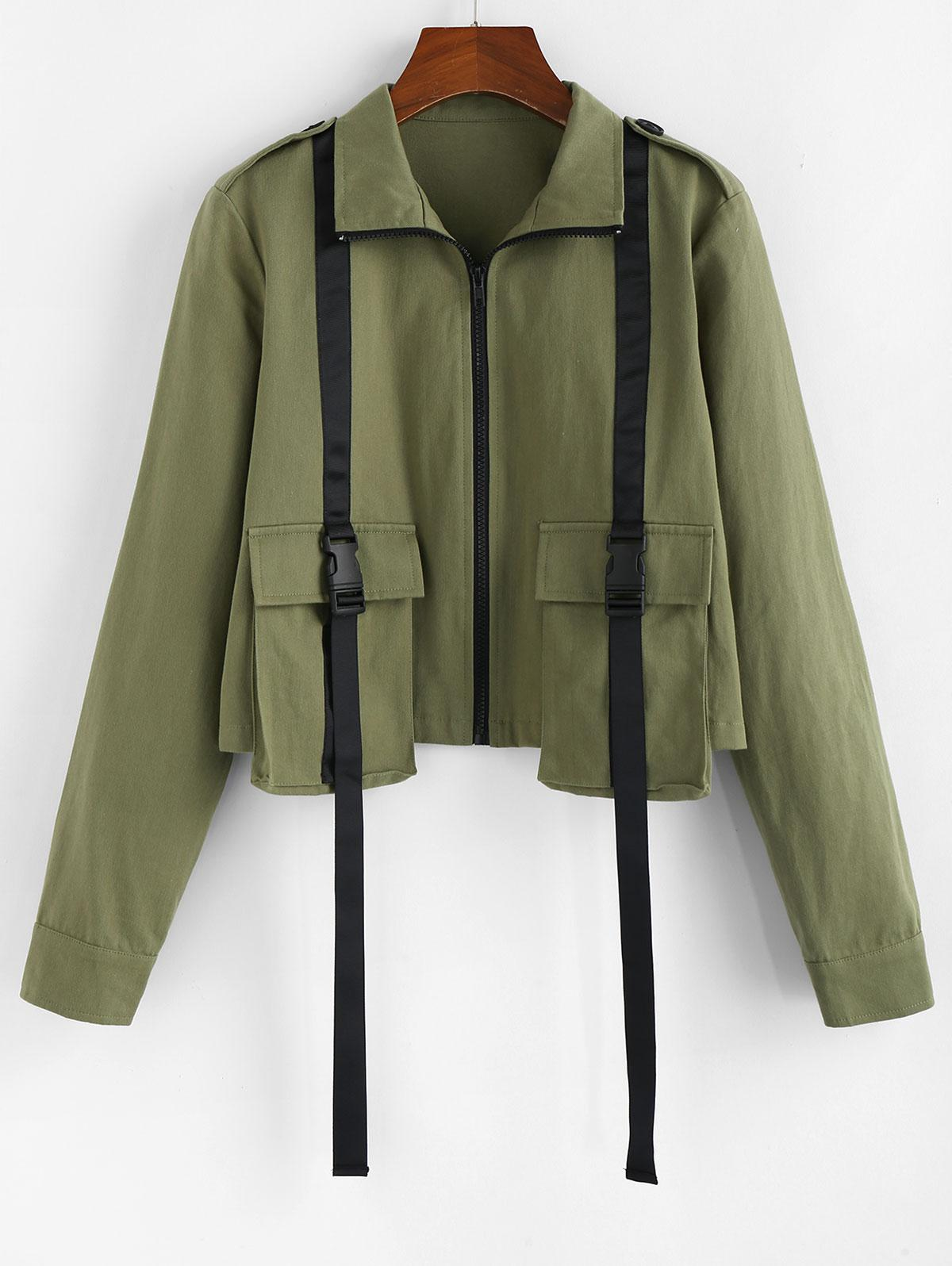 ZAFUL Front Pockets Buckles Jacket