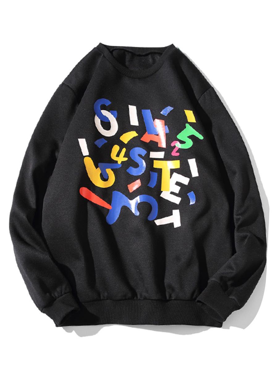 Letter Graphic Print Crew Neck Fleece Sweatshirt фото