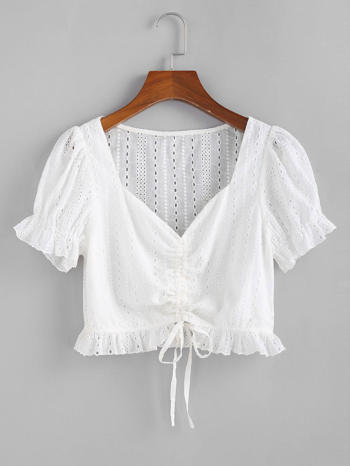 ZAFUL Eyelet Cinched Ruffle Crop Blouse