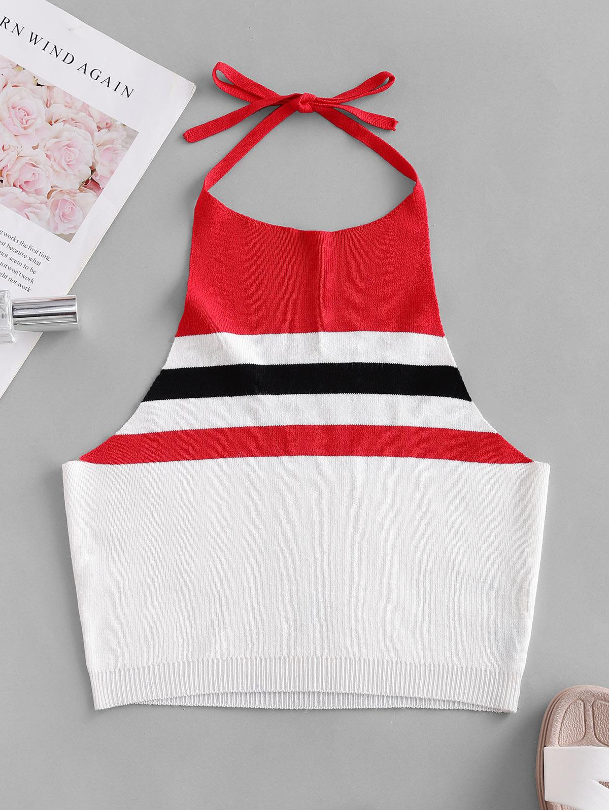 ZAFUL Knitted Colorblock Stripes Cropped Tank Top