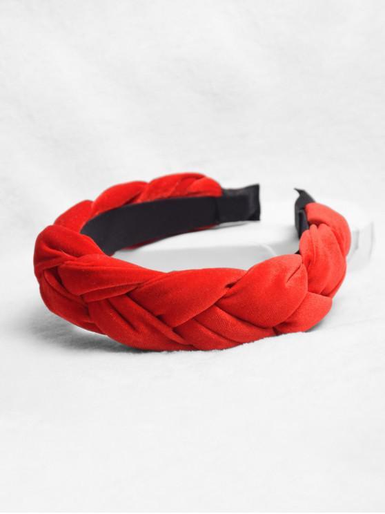 麻花設計頭帶 - 紅