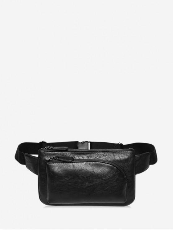 online Front Pocket PU Leather Chest Bag - BLACK
