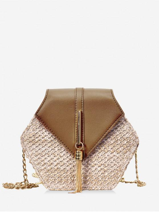 buy Fringed Geometric Straw Crossbody Bag - BROWN