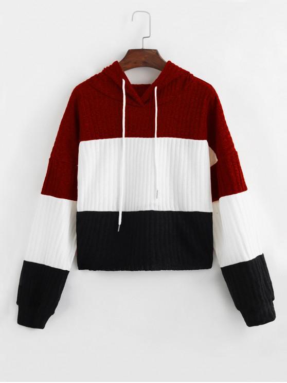 El color de bloqueo con capucha gota hombro jersey de punto - Vino Tinto XL
