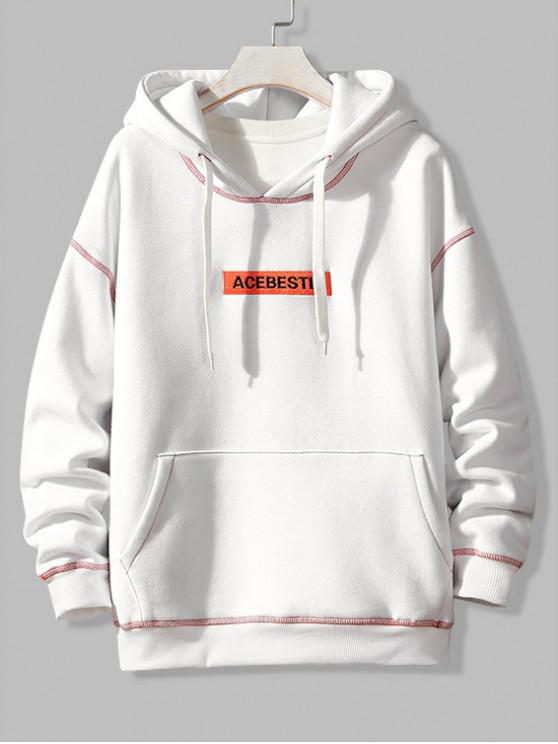 fashion Letter Embroidery Contrast Stitching Fleece Hoodie - WHITE M