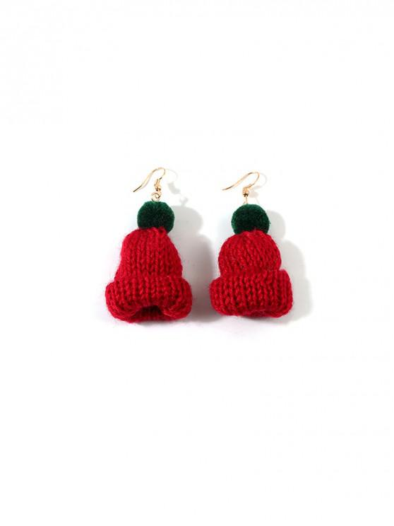 best Christmas Bobble Hat Drop Earrings - RED