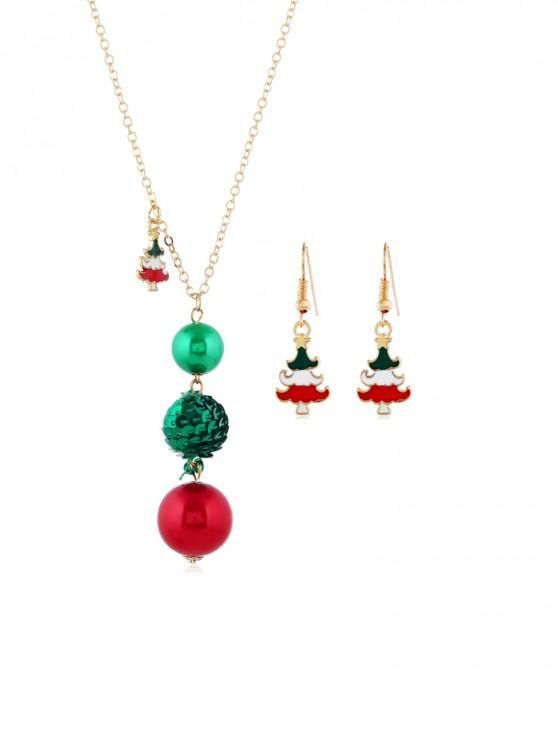 聖誕樹球首飾套裝 - 金