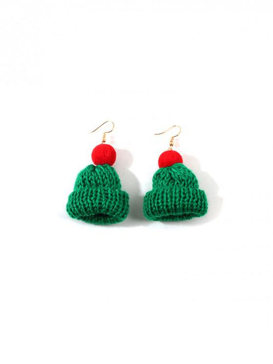 shops Christmas Bobble Hat Drop Earrings - DEEP GREEN