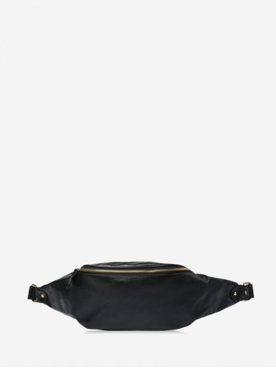ladies Plain Adjustable Casual PU Leather Chest Bag - BLACK