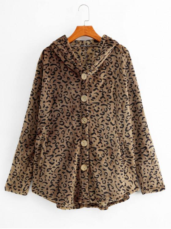 women's Leopard Hooded Button Up Pockets Fluffy Coat - LEOPARD S