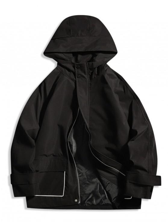 best Contrast Piped Hooded Raglan Sleeve Jacket - BLACK M