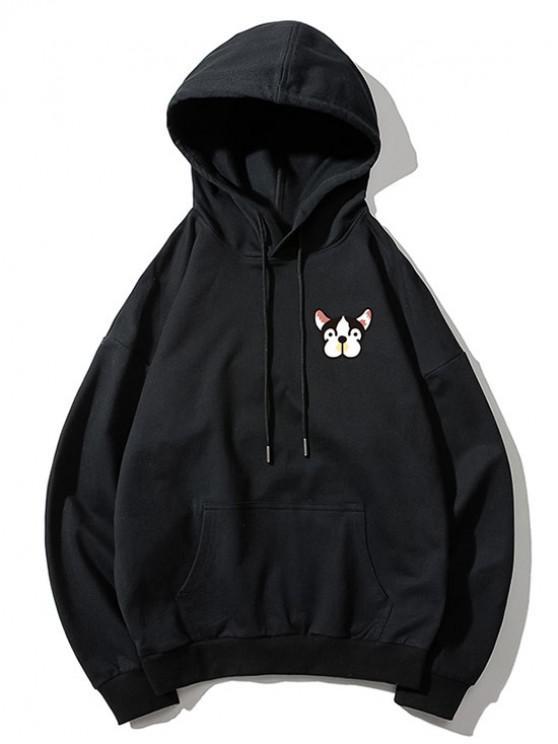 lady Tiny Dog Head Print Drop Shoulder Basic Hoodie - BLACK S