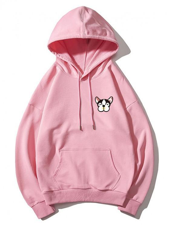 fashion Tiny Dog Head Print Drop Shoulder Basic Hoodie - PINK XL
