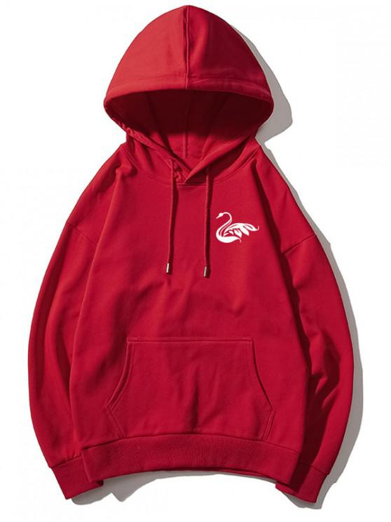 Tiny Swan Print Solid picătură Basic Umăr Hoodie - roșu L