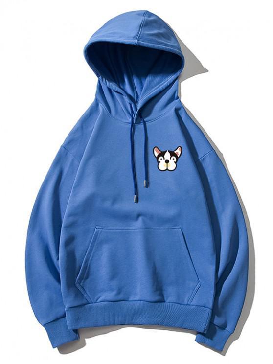 womens Tiny Dog Head Print Drop Shoulder Basic Hoodie - BLUE 2XL