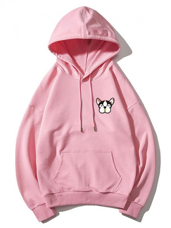 hot Tiny Dog Head Print Drop Shoulder Basic Hoodie - PINK 2XL
