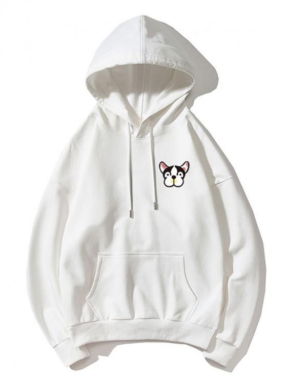 shops Tiny Dog Head Print Drop Shoulder Basic Hoodie - WHITE XL
