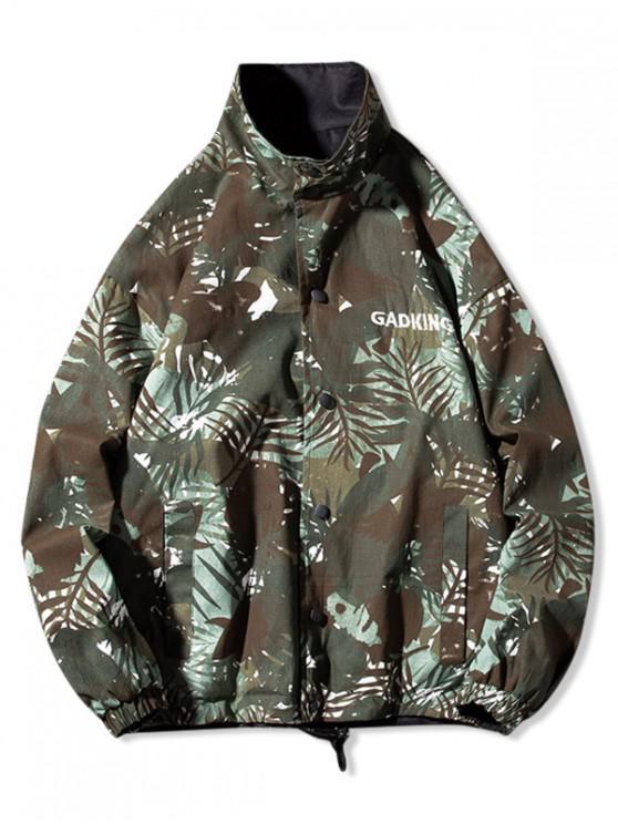 latest Camo Print Button Up Drawstring Hem Reversible Jacket - MULTI-A M