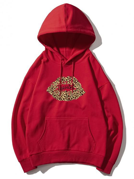 sale Leopard Lip Letter Print Drop Shoulder Hoodie - RED L
