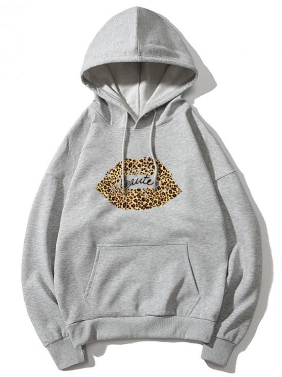 trendy Leopard Lip Letter Print Drop Shoulder Hoodie - GRAY XL