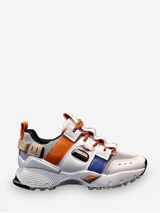 shop Breathable Mix Material Dad Sneakers - TANGERINE EU 36