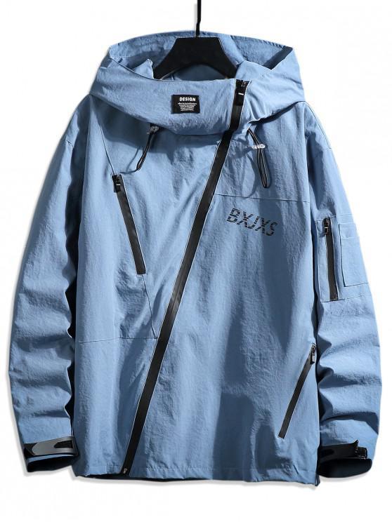 unique Front Asymmetric Zip Hooded Drop Shoulder Jacket - LIGHT BLUE 4XL