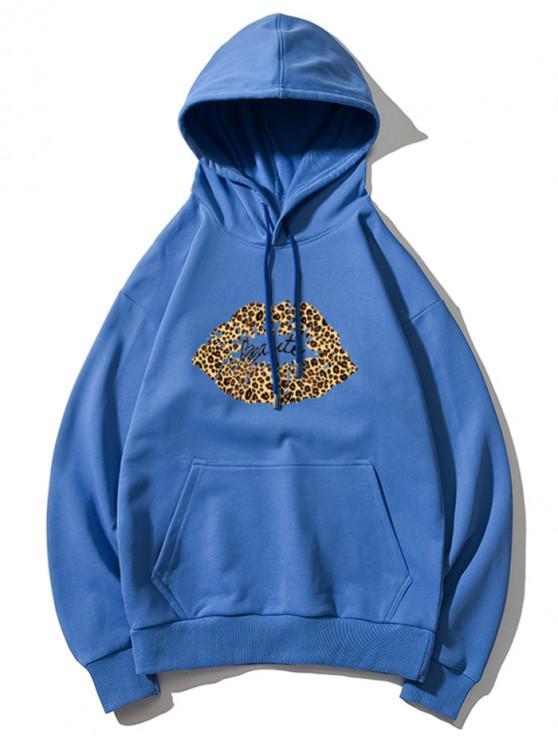 women's Leopard Lip Letter Print Drop Shoulder Hoodie - BLUE 3XL
