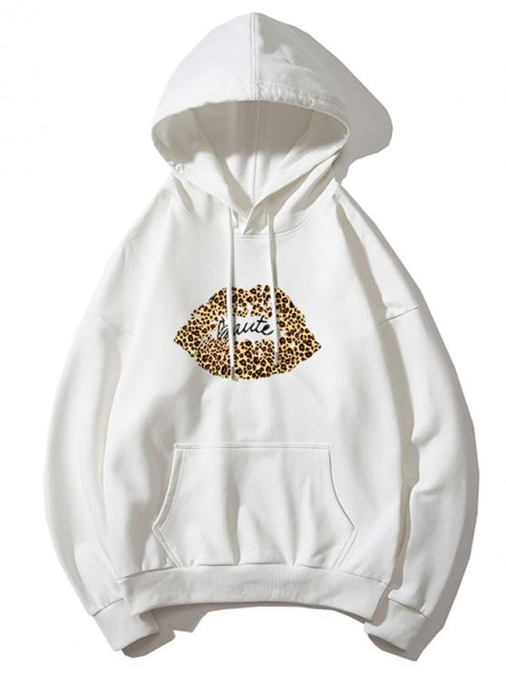 lady Leopard Lip Letter Print Drop Shoulder Hoodie - WHITE M