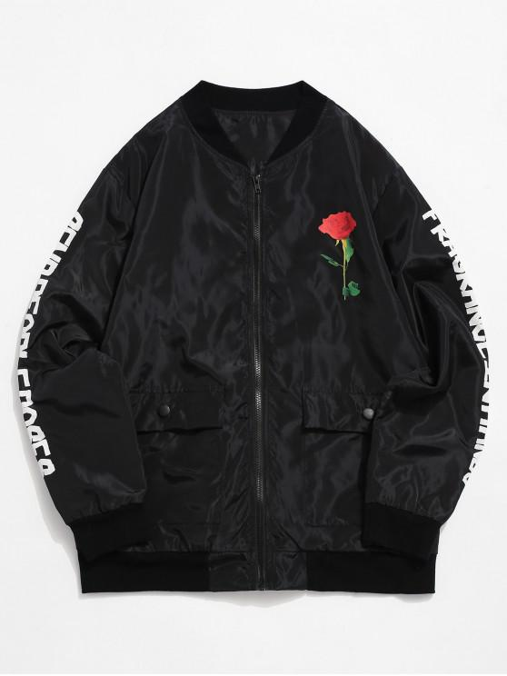 chic Rose Letter Print Zip Up Casual Jacket - BLACK S