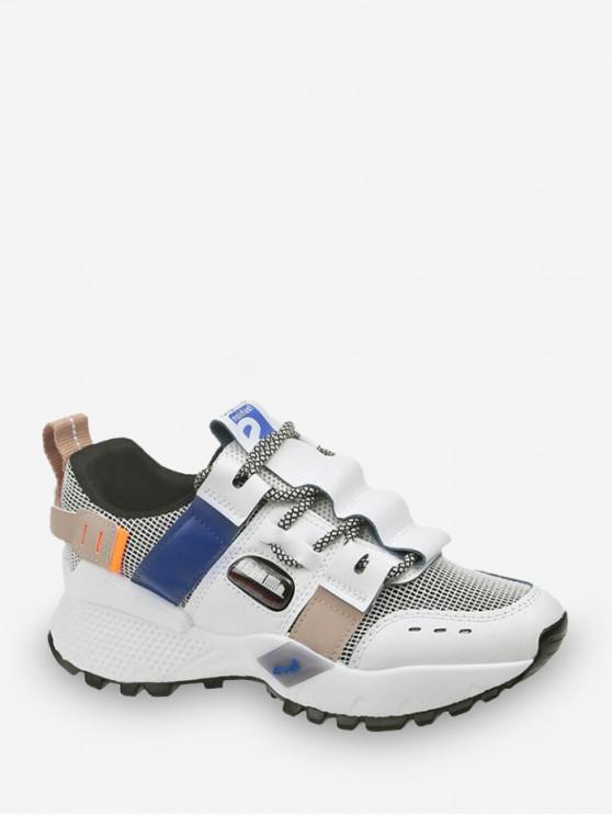 sale Breathable Mix Material Dad Sneakers - BLUE EU 36