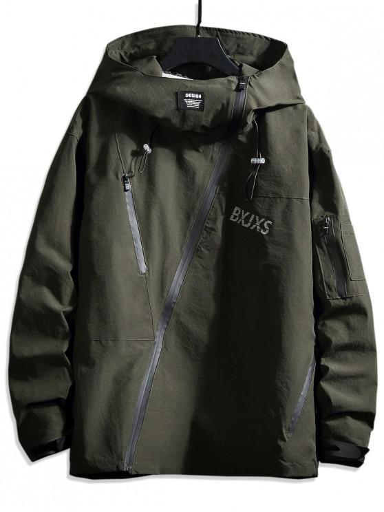 affordable Front Asymmetric Zip Hooded Drop Shoulder Jacket - DARK GREEN L