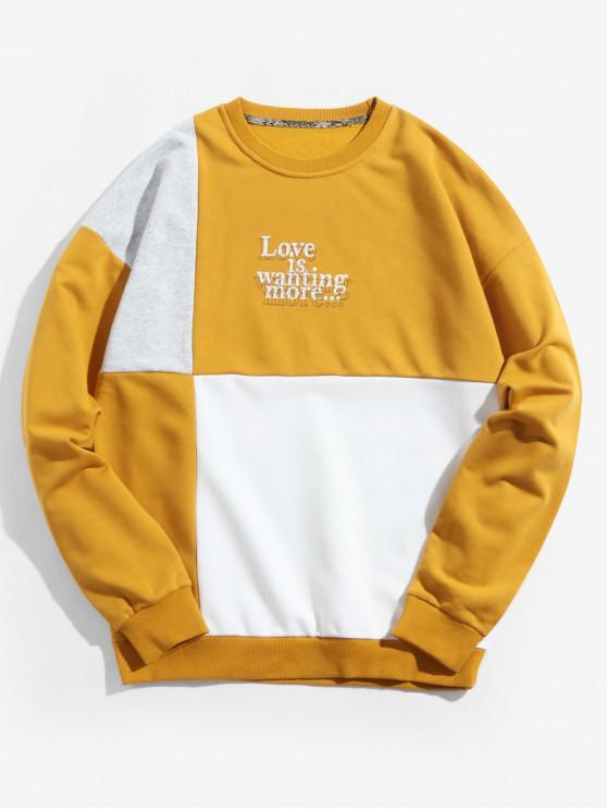 lady Color Spliced Letter Print Casual Sweatshirt - SUN YELLOW L