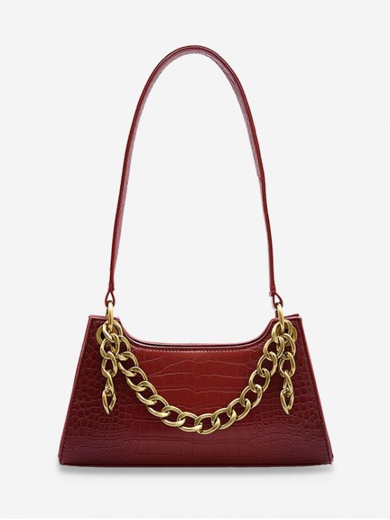 chic Metal Chain Animal Embossed Sling Bag - RED WINE