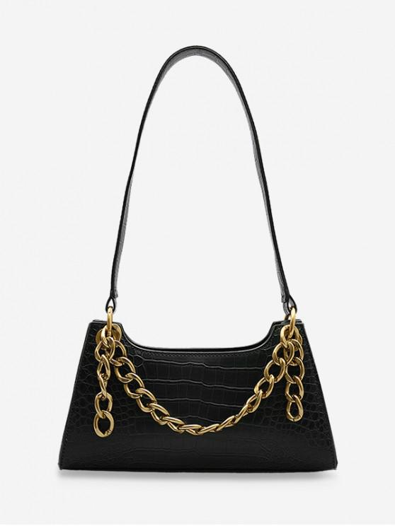 women Metal Chain Animal Embossed Sling Bag - BLACK
