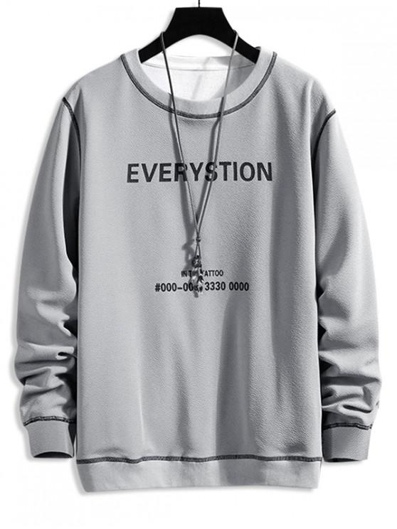 Scrisoare Grafica Print Contrast Cusătura Sweatshirt - Gri deschis XL
