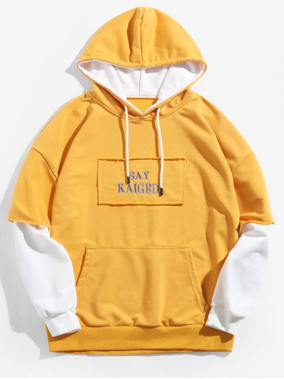 ladies Faux Two Pieces Letter Print Casual Hoodie - MUSTARD M