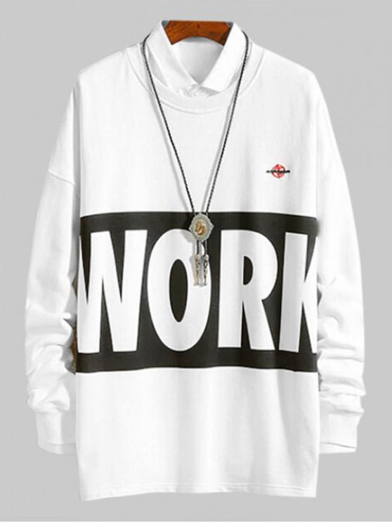 latest Letter Print Contrast Color Casual Sweatshirt - WHITE XL