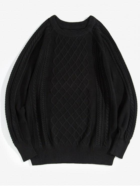 fancy Plain Cable Knit Pullover Sweater - BLACK XS