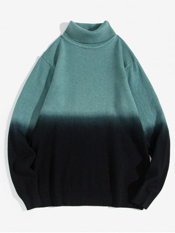 womens Turtleneck Dip Dye Pullover Sweater - LIGHT GREEN XS