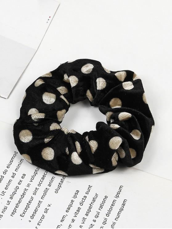 best Polka Dot Elastic Fabric Scrunchy - BLACK